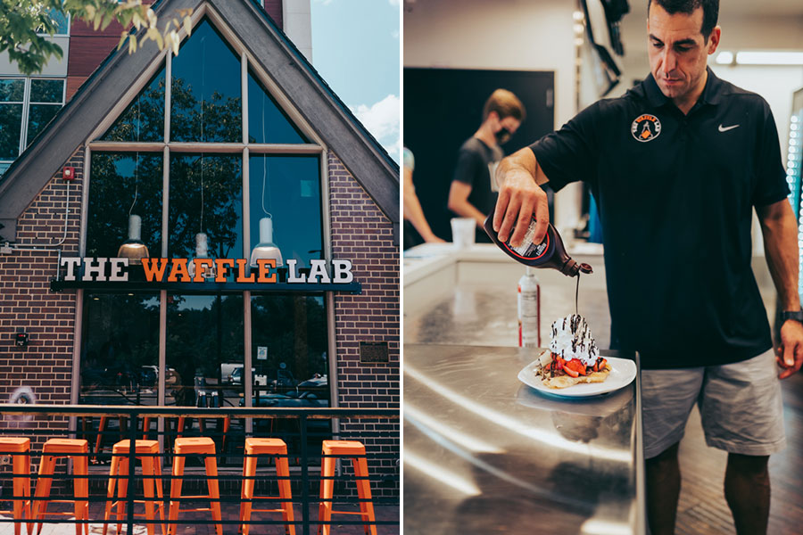 The Waffle Lab: exterior and chocolate waffle